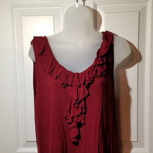 2XL Maroon Ruffled Tank